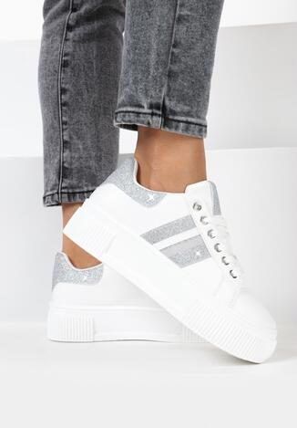 Sneakers Alb cu argintiu