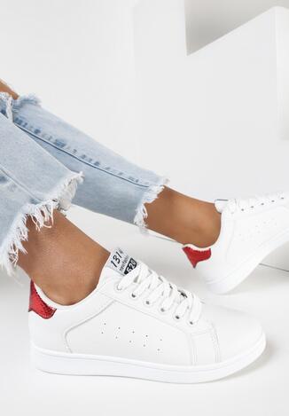 Pantofi sport Alb cu roșu