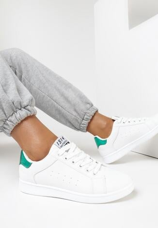 Pantofi sport Alb cu verde