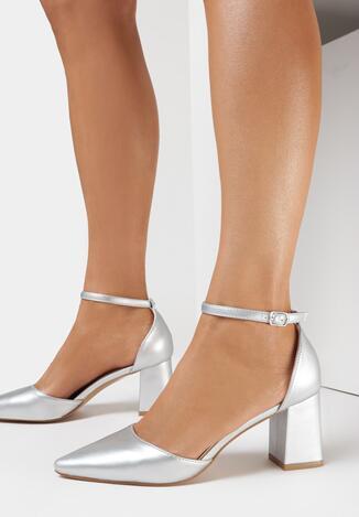 Pantofi cu toc Argintii