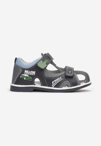 Sandale din piele Bleumarin