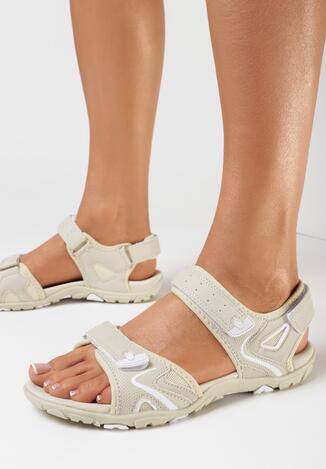 Sandale Bej cu alb