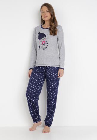 Compleu pijama Gri cu bleumarin