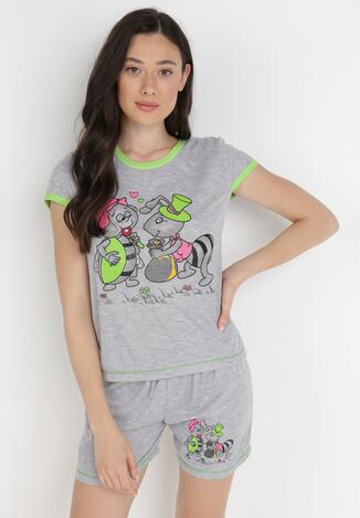 Compleu pijama Gri cu verde