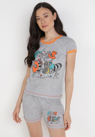 Compleu pijama Gri cu portocaliu