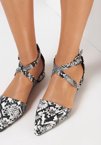 Sandale Negru cu print piele de șarpe