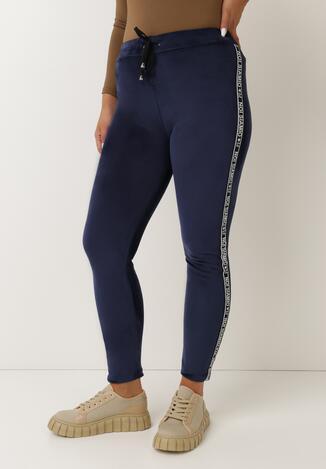 Pantaloni Bleumarin cu alb