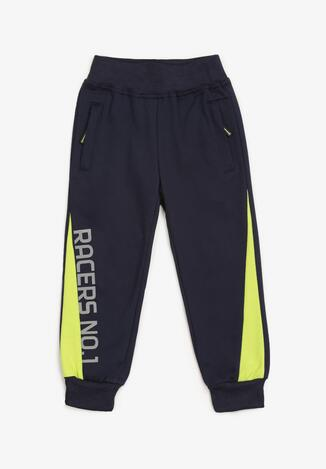 Pantaloni Bleumarin cu galben