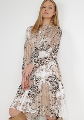 Rochie Albă cu bej