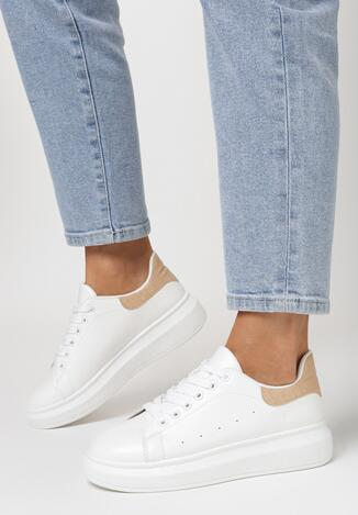 Sneakers Alb cu bej