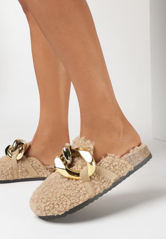 Papuci de casă Bej