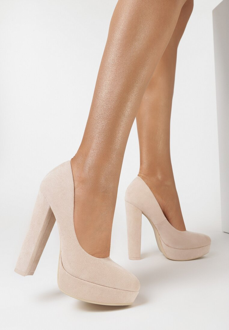 Pantofi cu toc Bej