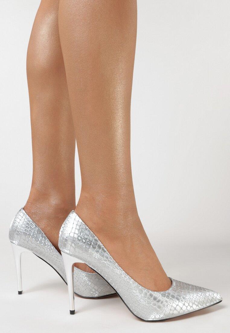 Pantofi stiletto Argintii