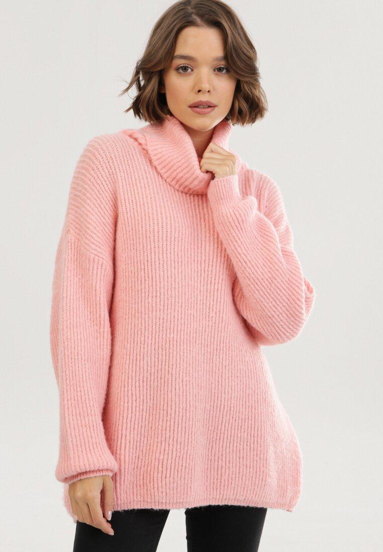 Pulover pe gât Roz somon