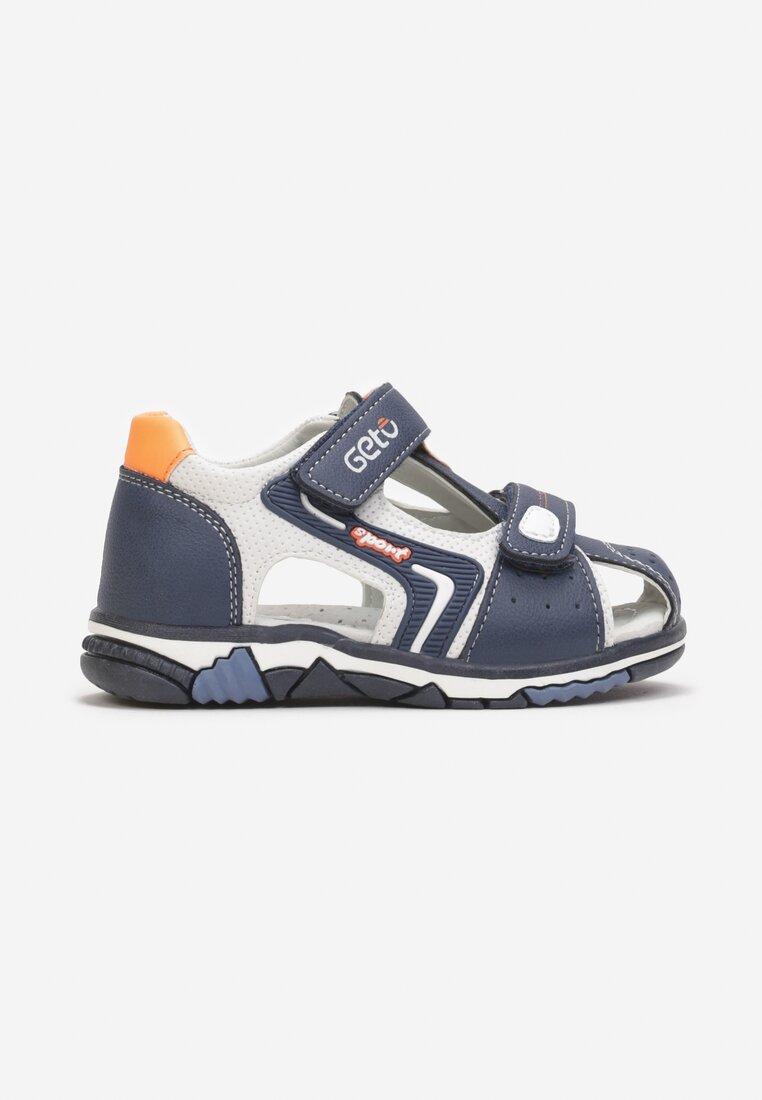 Sandale Bleumarin cu portocaliu