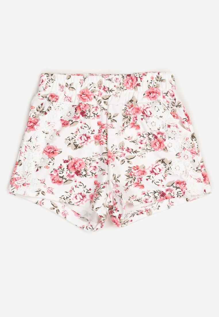 Pantaloni scurți Alb cu roz