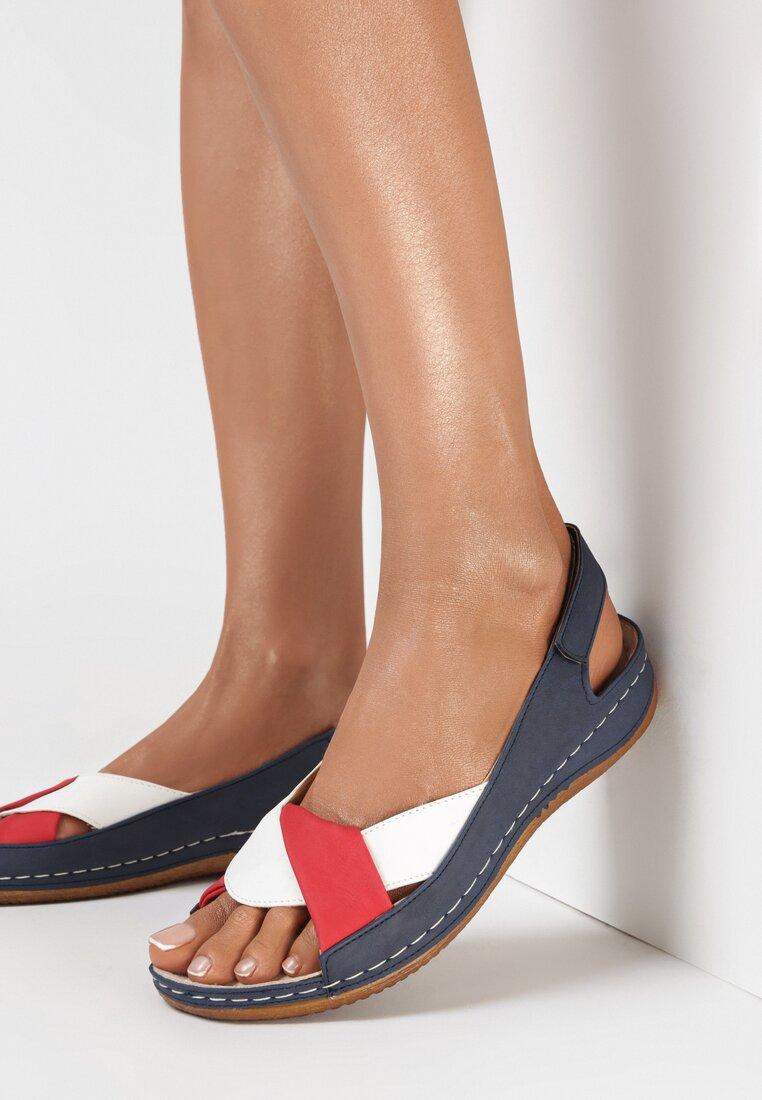 Sandale Bleumarin cu roșu