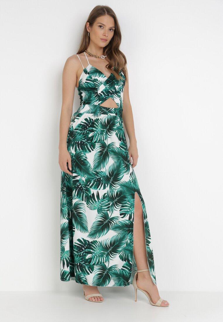 Rochie Albă cu verde